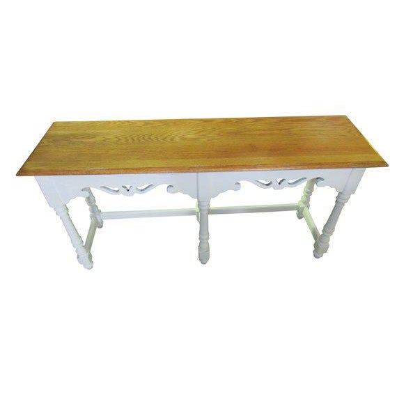 Vintage Ethan Allen console table, base in white with open carved work, table surface in natural finished pine. Table...