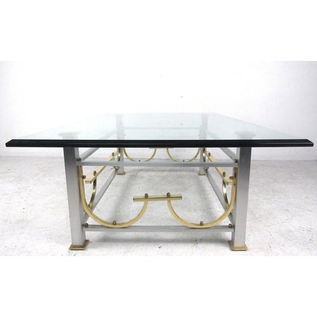 Mid-Century Modern Mid-Century Modern Maison Jansen Style Chrome & Brass Coffee Table For Sale - Image 3 of 10