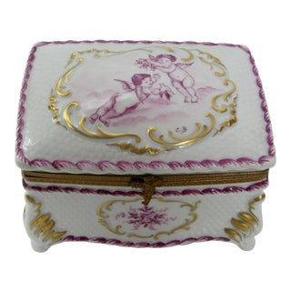 French Limoges Hand Painted Cherubs Large Jewelry Box For Sale
