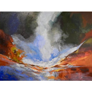 """Mid-Century Modern Painting, """"Waterfall Surrounded by Quarry"""" Cascading Water For Sale"""