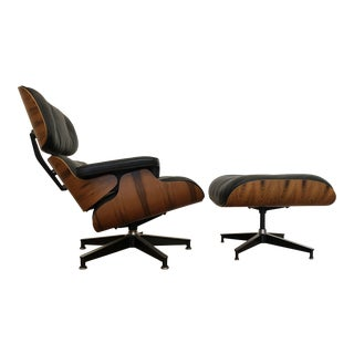 Eames Rosewood and Black Leather 670 - 671 Lounge Chair & Ottoman, 1984, Herman Miller For Sale