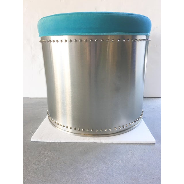 Rivet Stools with Turquoise Velvet Tops - A Pair - Image 3 of 4