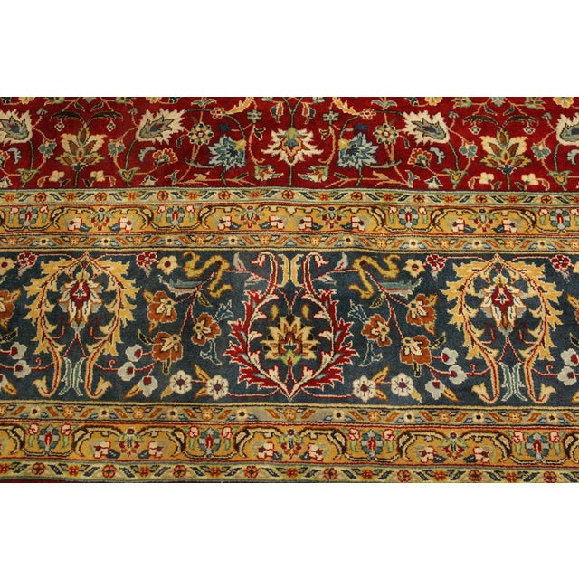 Shabby Chic Pak-Persian Mirna Red/Teal Wool Rug - 9'0 X 12'0 For Sale In New York - Image 6 of 8