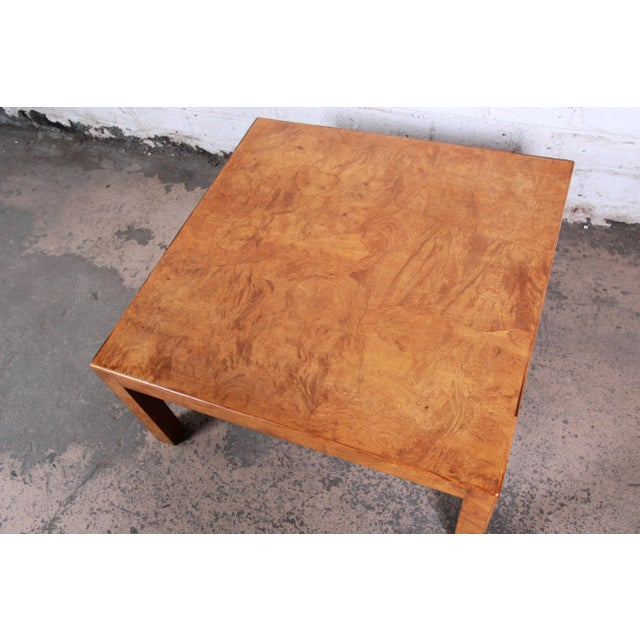 1970s Mid-Century Burl Wood Parsons Coffee Table For Sale - Image 5 of 9