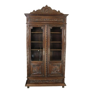 Bookcase Brittany Antique French 1880 Carved For Sale