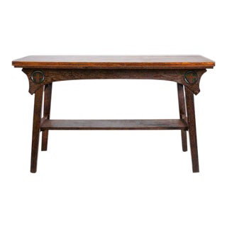 Arts & Crafts English Oak Hand-Carved Console Table