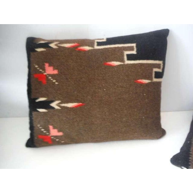 Pair of Early Mexican Indian Weaving Pillows For Sale - Image 4 of 5