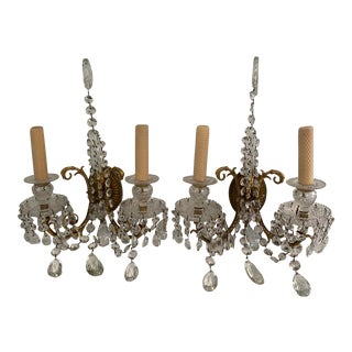 Antique 1920s French Crystal Sconces - a Pair For Sale