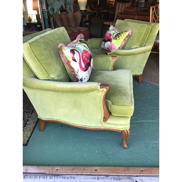 Green Vintage French Regency Bergere Chairs-A Pair For Sale - Image 8 of 13