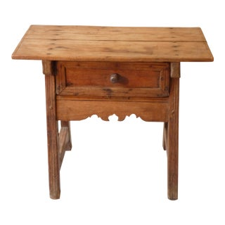 Low Rustic Side Table With Decorative Apron For Sale