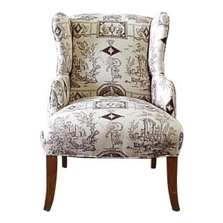 Vintage Mid Century Brown Toile Fabric Petite Wing Chair For Sale