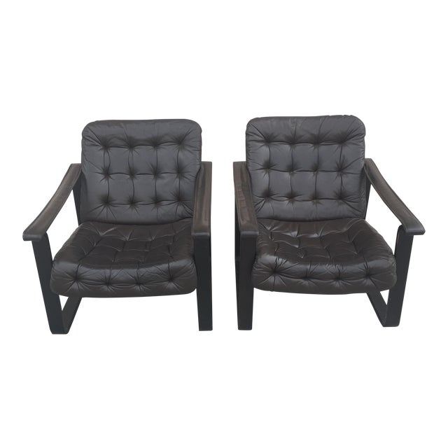 Oy Bj Dahlqvist Ab for Bd Furniture Tufted Leather Sling Chairs- A Pair For Sale