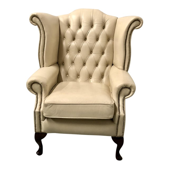 English Leather Wing Chair For Sale