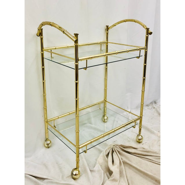 Brass Vintage Hollywood Regency Faux Bamboo Bar Cart For Sale - Image 8 of 8