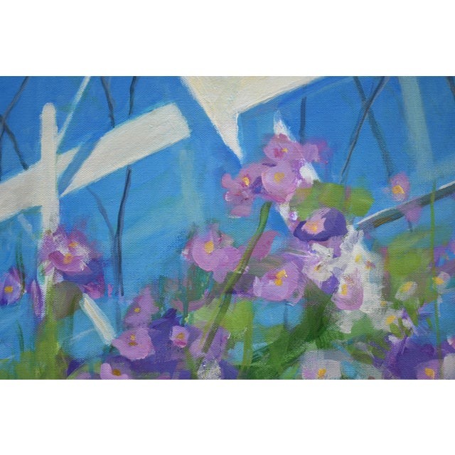 """Canvas """"Meet Me at the Greenhouse"""". Large (48"""" X 48"""") Contemporary Painting by Stephen Remick For Sale - Image 7 of 13"""