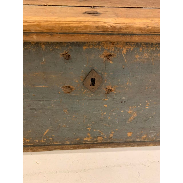 American 19th Century Patinaed Wooden Trunk For Sale - Image 3 of 12