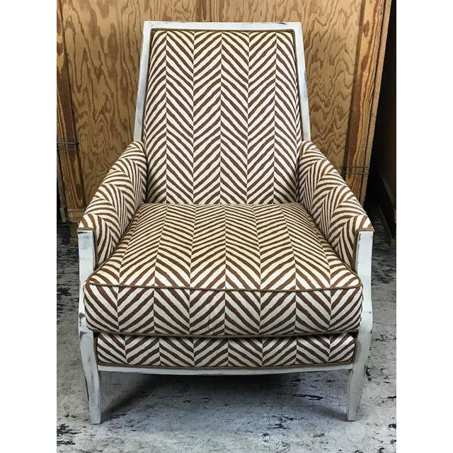 Moderne White -Washed Framed Bergere Chair with Custom Upholstery - Image 4 of 7