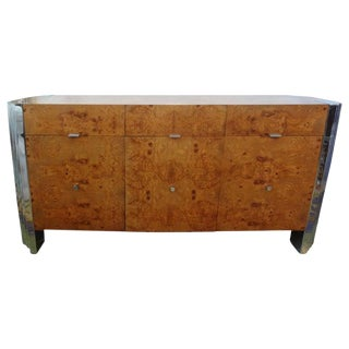 "1970's Art Deco Style ""Skyscraper"" Burled Elm and Chrome Credenza For Sale"