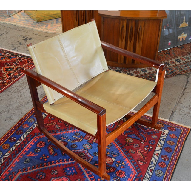 Mid-Century Modern Leather Rocking Chair by Michel Arnoult For Sale - Image 5 of 5