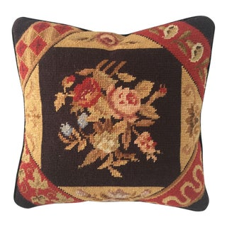 "French Country Style Floral Needle Point Pillow 13""x 13"""