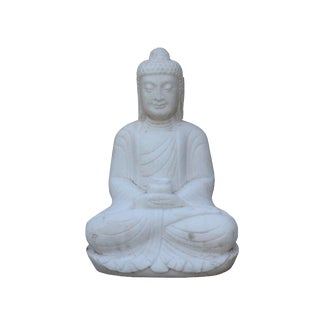 Chinese White Marble Stone Sitting Buddha Medicine Bowl Statue For Sale