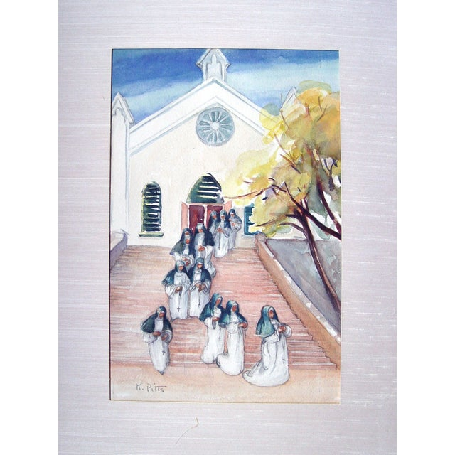 Group leaving chapel watercolor on paper, signed K. Pitts lower left corner, circa 1990's. Unframed, displayed in original...