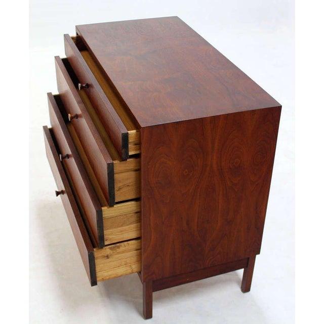 1960s Mid Century Modern Walnut Four Drawer Bachelor Dresser For Sale - Image 5 of 9