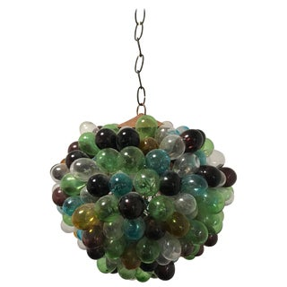 Rare French Blown Glass Grapes Chandelier For Sale