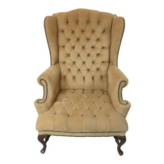 Vintage Suede Tufted Wingback Chair