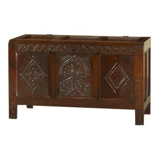 Antique English Oak Trunk Coffer circa 1850 For Sale