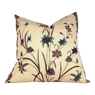 Hand Crafted Indonesian Floral Batik Pillow Cover For Sale
