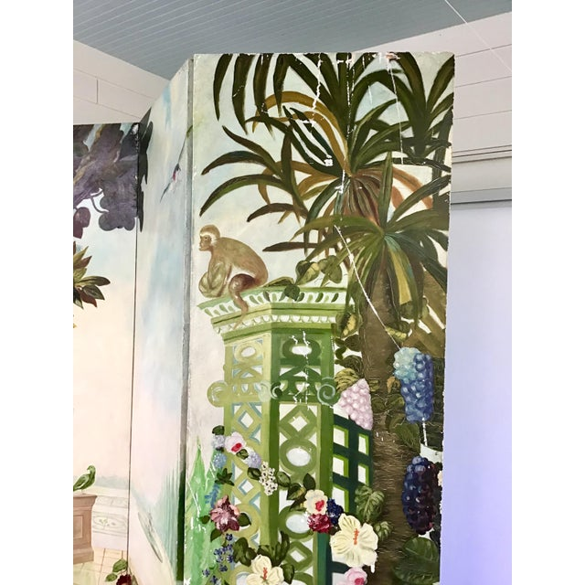 Maitland Smith Handpainted 3-Panel Screen For Sale In Charleston - Image 6 of 10