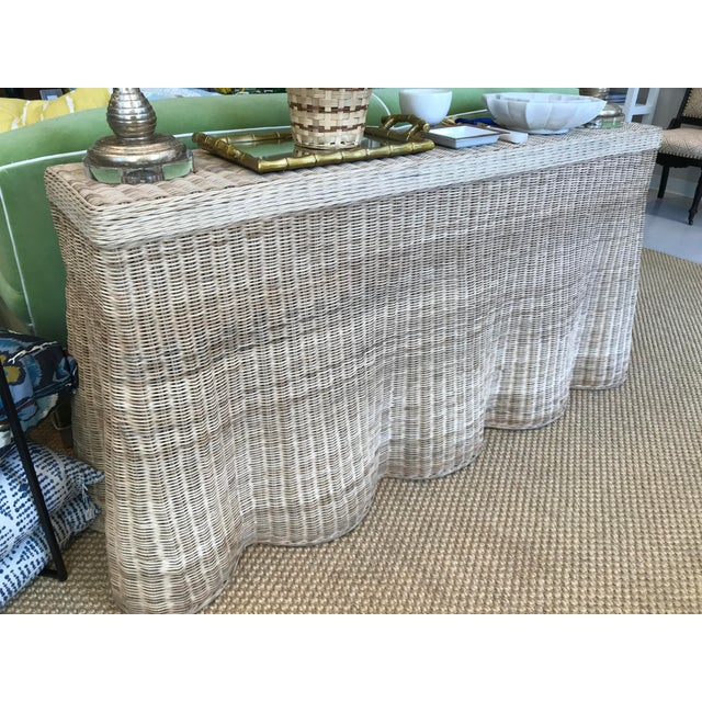 Abstract Natural Finish Rattan Scalloped Console For Sale - Image 3 of 8