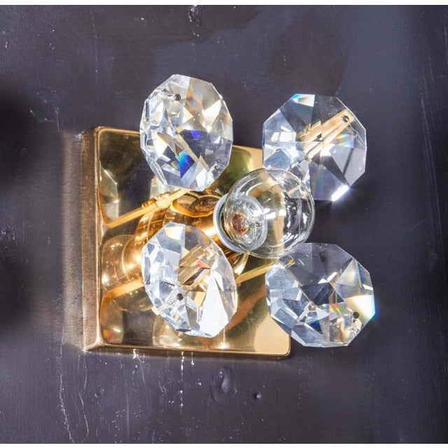 Pair of Cut Crystal and Gold Hollywood Regency Sconces by Christoph Palme For Sale - Image 9 of 13