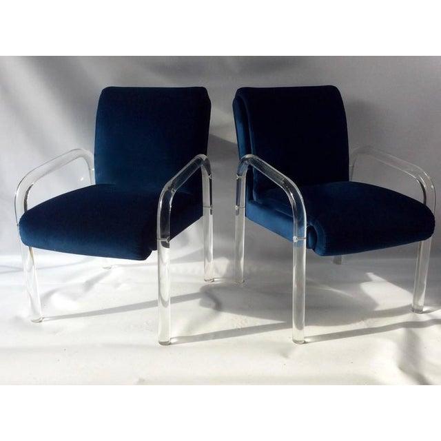 Vintage Blue Velvet Lucite Arm Chairs A Pair Chairish