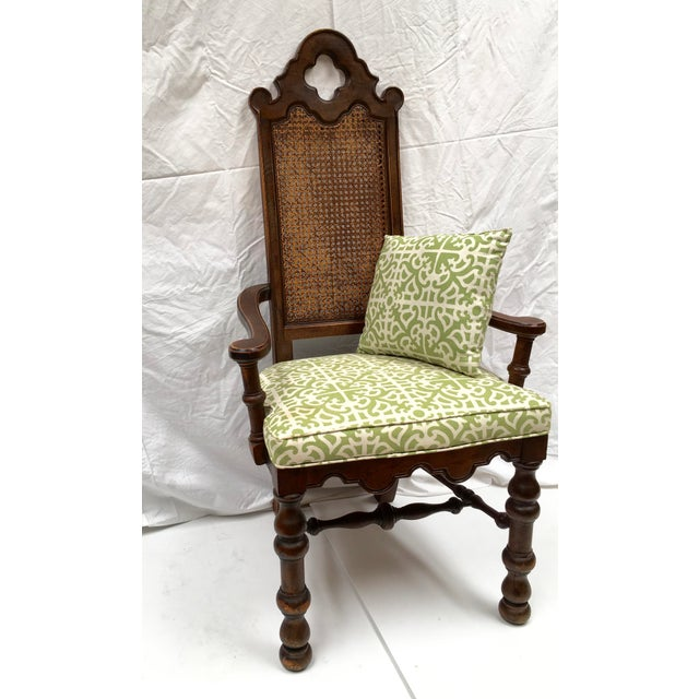 French Oak Cane Back Upholstered Chairs - A Pair - Image 4 of 11