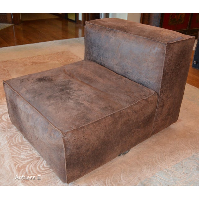 Modern Restoration Hardware Distressed Leather Sectional For Sale In Chicago - Image 6 of 11