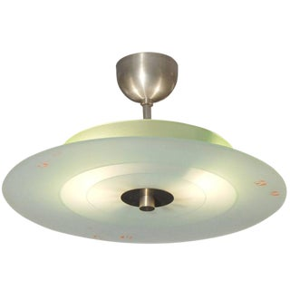 Italian Glass and Nickel Fixture For Sale