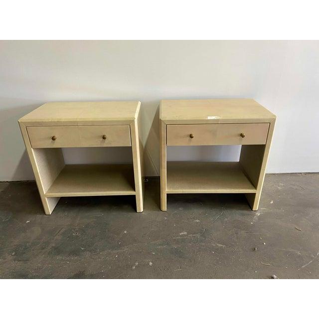 Metal Polished Faux Vellum Bedside Tables For Sale - Image 7 of 7