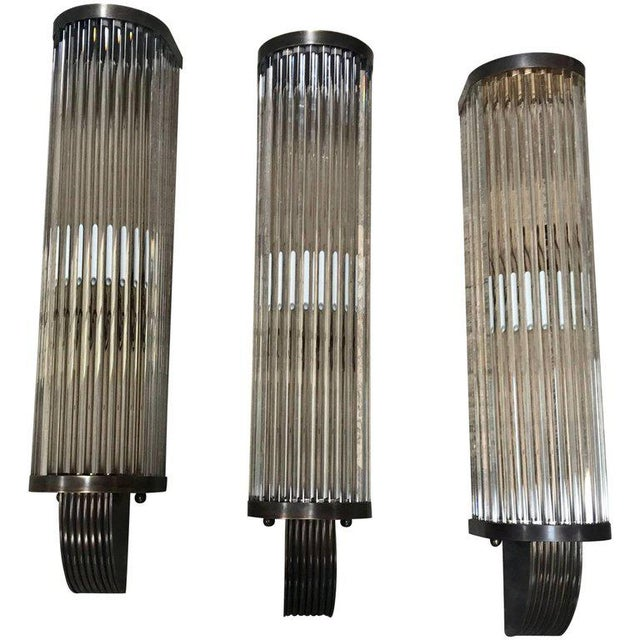 Brass Italian Pair of Tubular Glass Sconces with Brass For Sale - Image 7 of 7