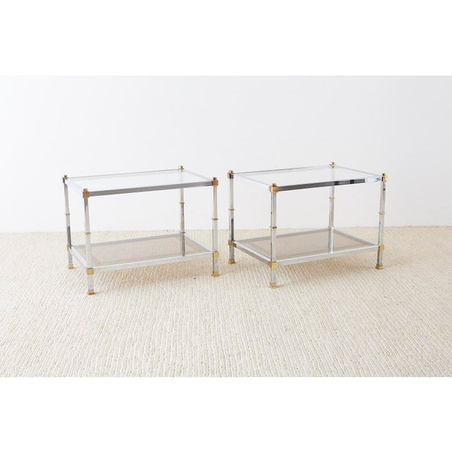 Pair of Maison Jansen Style Chrome and Brass Tables For Sale - Image 12 of 13