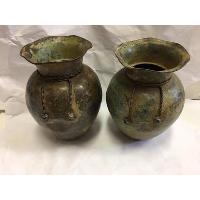 Antiqued Copper Finish Vases - A Pair - Image 6 of 7