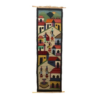 Vintage Handwoven Wool Tapestry For Sale