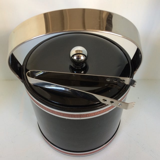 Georges Briard Black Vinyl & Chrome With Copper Tone Bands Ice Bucket and Tongs For Sale - Image 10 of 13