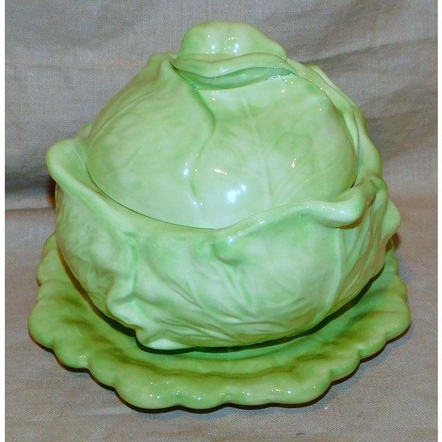 Green Vintage Ceramic Cabbage Vegetable Server For Sale - Image 8 of 8