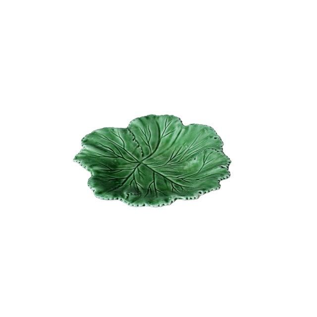 """Vintage Majolica """"Cabbage"""" Dark Green Leaf Salad or Serving Plate For Sale"""