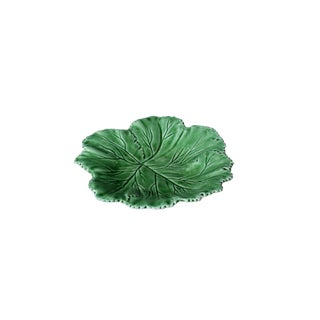 Vintage Majolica Dark Green Leaf Salad or Serving Plate For Sale