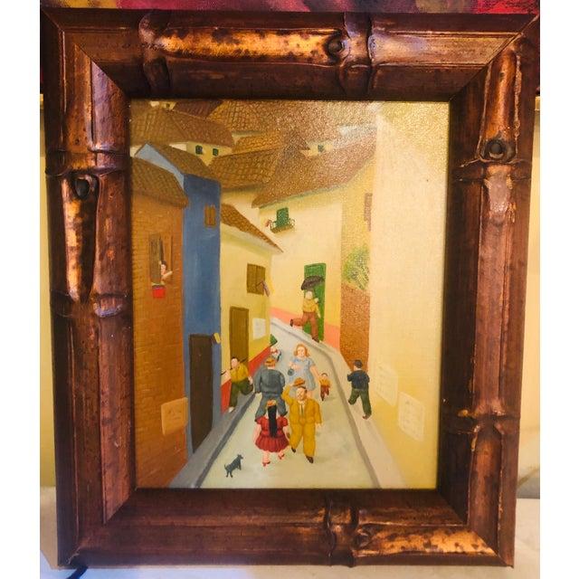 """Oil on Canvas Street Scene - Framed Dimensions: Framed: 13.5""""H 11.5""""W 1""""D"""