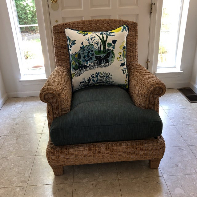 White Ralph Lauren Herring Net Wicker Armchair With Upholstered Seat and Loose Back Pillow For Sale - Image 8 of 8