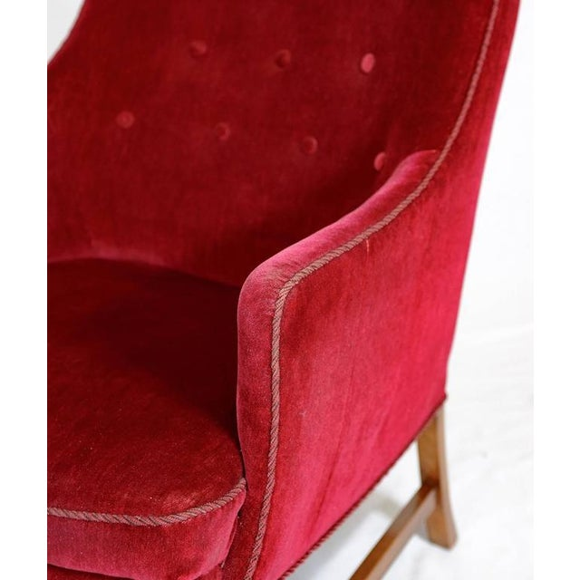 Red Frits Henningsen Lounge Chair For Sale - Image 8 of 8